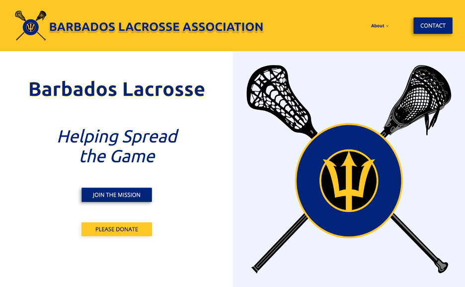 Falls Church Web Development site home page for a Client: Barbados Lacrosse